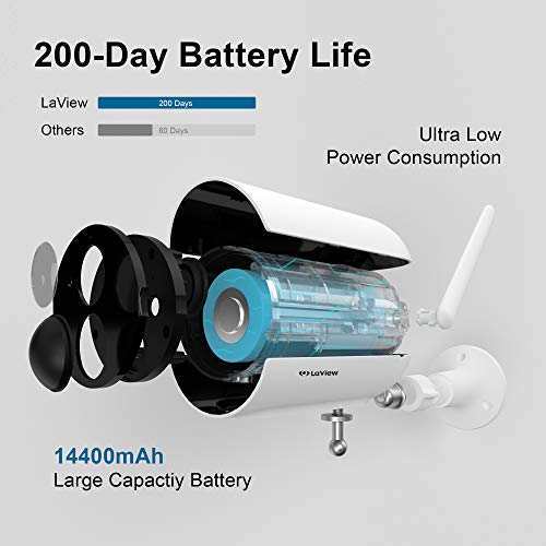 LaView Outdoor Security Camera,Rechargeable Battery Powered Camera 14400mAh,Home Security Camera 1080P,WiFi Camera Waterproof with Night Vision,Motion Detection,2-Way Audio,USA Cloud Storage/SD Slot