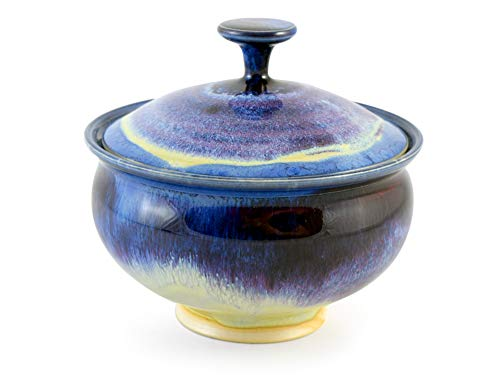 (American Made Wild Blackberry Pottery Collection: Candy Bowl Dish with Lid)