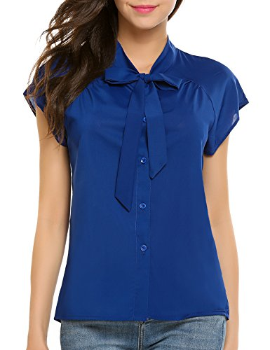 Zeagoo Women's Casual Chiffon V Neck Bow tie Blouse Top (Blue XL)