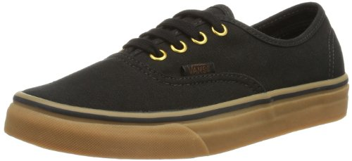 Vans Unisex Authentic Black/Rubber Skate Shoe 10.5 Men US / 12 Women US