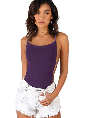 (Verdusa Women's Sleeveless Scoop Neck Strappy Backless Bodysuit Purple M)