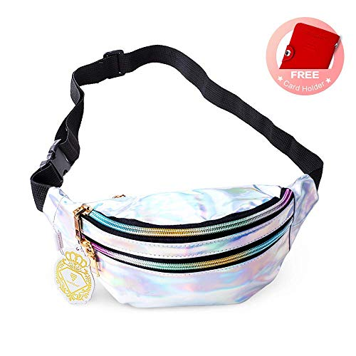 Fanny Pack Belt Bag, Holographic Fanny Packs for Women Men Kids, Fashion Waterproof Waist Pack with 3 Pouches Adjustable Strap, Shiny Causal Bags Cute Bum Bag Hip Sacks for Travel Festival Hiking Rave ()