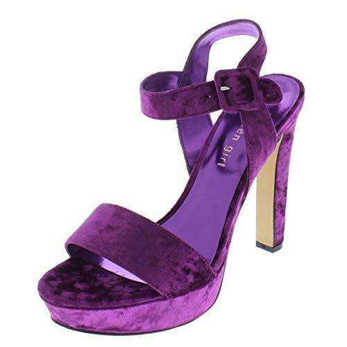 Madden Girl Women's ROLLOO Heeled Sandal, Fuchsia Velvet, 9 M US