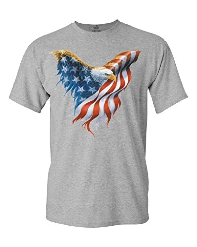 July Eagle Flag T-shirt (Shop4Ever Eagle USA Flag T-shirt 4th of July Shirts XX-LargeSports Grey)