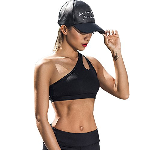 Manluo Womens Sports Bra One Shoulder Fitness Gym Yoga Bras Tank Top Breathable Shockproof Athlatic Black S