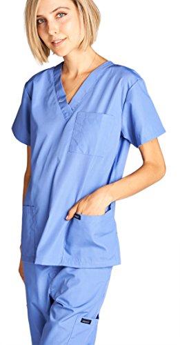 Dagacci Medical Uniform Woman and Man Scrub Set Unisex Medical Scrub Top and Pant, CEIL BLUE, L by Dagacci Medical Uniform (Image #3)