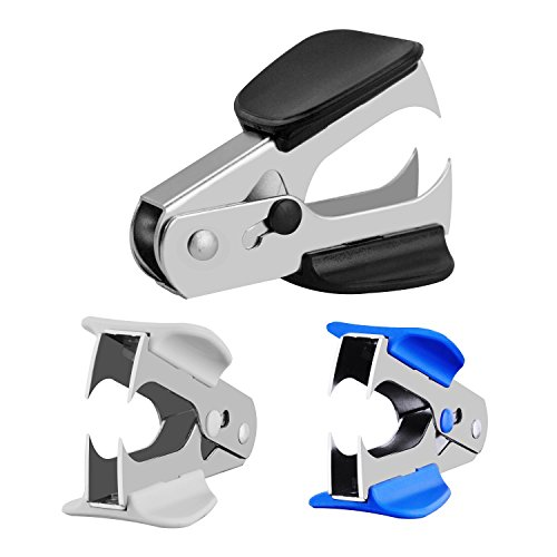 MROCO Staple Removers Staple Remover Staple Pull Staple Removers Office Staple Removal Tool, Extra Wide Steel Jaws Style Remover for Staple, Black,Blue,Gray,Pack of 3PCS