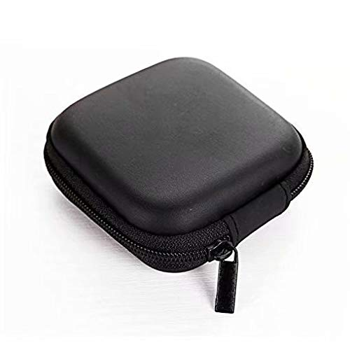 Anti choque Caja Auricular Cuero de la PU Anti choque cargador portatil Universal auricular bolsa estuche(Negro)