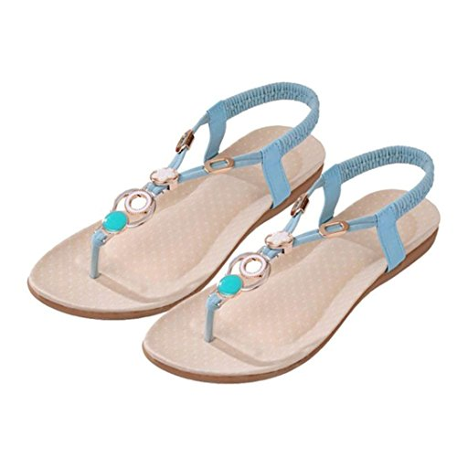 Summer Women Sandals, | Vintage Sandals | Bohemia Flip-Flop Beach Beads Sandals Flat Wedges Shoes Lovely Footwear Flip Flop Sandal | No Rubbing | Foot Toes Comfortable To Wear (40, Blue)