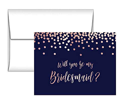 Navy and Rose Gold Bridesmaid proposals, Maid of Honor, Matron of Honor and Flower Girl Proposal Cards with envelopes
