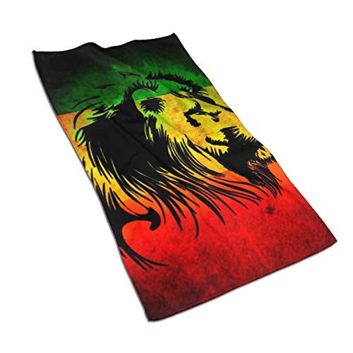 QUZtww Large Beach Towel Jamaican Lion Flag (2) One Side Print for Pool for Man and Woman (Jamaican Beach Towel)