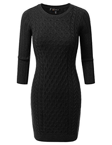 Doublju Slim Fit Cable Knit Longline Tunic Sweater Dress Top BLACK LARGE