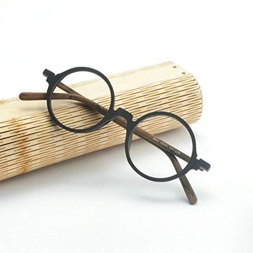 MINCL/Retro Wood Glasses Frame Round Optical Eyeglasses Frames Unisex Wooden Clear Lenses Reading Glasses Frame (black&yellow) ()