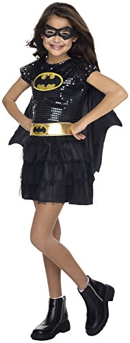 Cute Little Kid Halloween Costumes (Rubie's Costume DC Superheroes Batgirl Sequin Dress Child Costume, Medium)