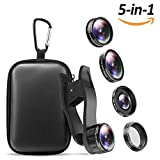 iPhone Camera Lens , 5 in 1 Cell Phone Camera Lens 0.5x Wide Angle Lens+15x Macro Lenses +230° Fisheye Lens +CPL +Star Lens for iPhone x 8 7 6 6s plus Samsung Huawei Android Smartphone