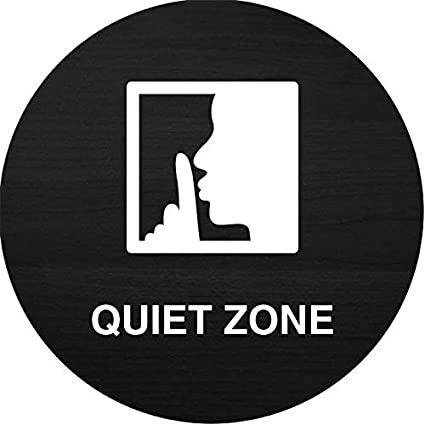 iCandy Products Inc Quiet Zone Finger On Mouth Hotel Business Office Building Sign 9 Inches Round Metal Elm Burl