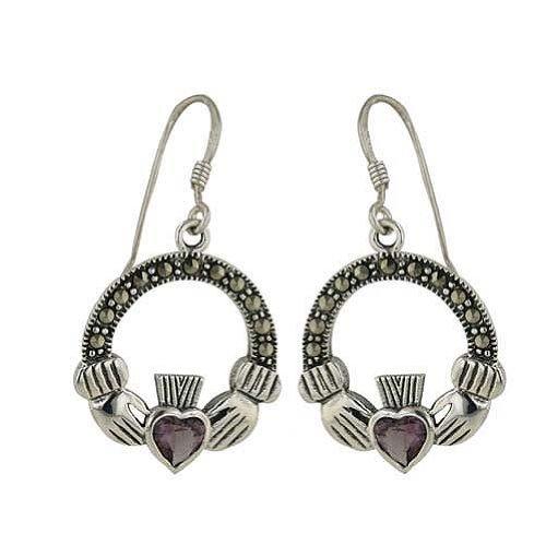 Sterling Silver Marcasite Heart Shape Amethyst Color Cubic Zirconia Irish Claddagh - Heart Marcasite Shape