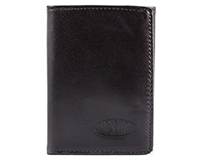 Big Skinny Men's RFID Blocking Tri-Fold Leather Slim Wallet, Holds Up to 25 Cards, Black