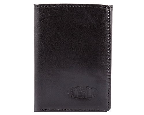 D Blocking Tri-Fold Leather Slim Wallet, Holds Up to 25 Cards, Black ()