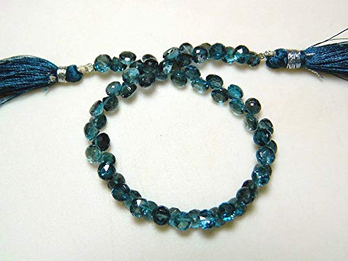 Topaz Necklace Briolette Faceted Blue (2 Strand London Blue Topaz Beads, Blue Topaz Onion Briolettes, Faceted Beads, 6mm Beads, 8 Inch by LadoNarayani)
