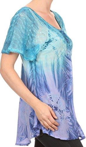 Blouse Sakkas Ombre Shirt Tie Batik Taylay Dye Corset Turquoise brod Top long Neck OOrFR