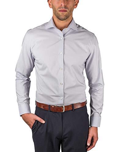 Perry Ellis Men's Travel Luxe Non Iron Tech Shirt (17-34/35, Grey)