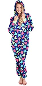 Sweet Intimate's Women's Hooded Soft Plush Adult Onesie Cute Pajama Lounger