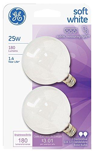 GE Lighting 44412 25-watt 180-Lumen Candelabra Base G16.5 Globe Light Bulb, Soft White (Packaging May ()