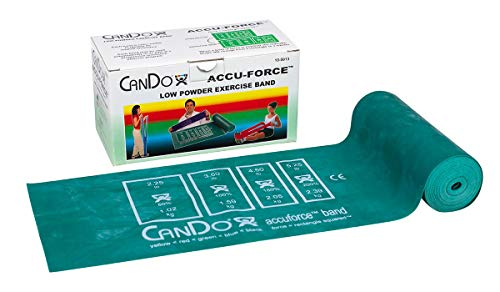 FEI 10-5913 Can-Do AccuForce Exercise Band Roll with Dispenser Box, Medium, 6 yd. Length, Green