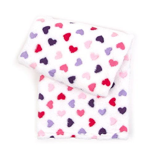 Tadpoles 3D Jacquard Plush Ultra-Soft Baby Blanket, Pink, Hearts
