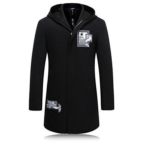 Also Easy wool hooded trench coat Men zipper Outerwear printed Casual Coat Men's Jacket Windbreaker Men JP202 608 BLACK M by Also Easy Outwear