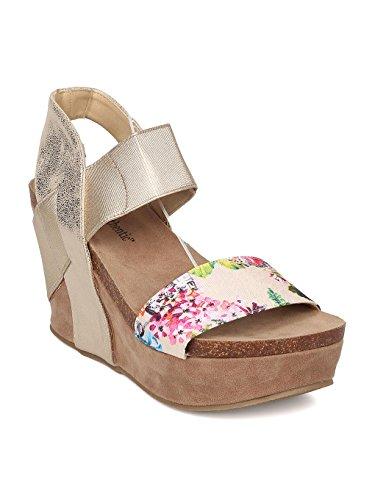 Heartthentic Tricia-10 Women Mixed Media Floral Platform Wedge Sandal HA98 - Light Gold Mix Media (Size: ()