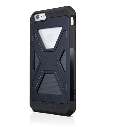 Rokform Fuzion iPhone 6/6s Aluminum & Carbon Fiber Dual Layer Protective Case. Made in USA (Black Anodized AL)