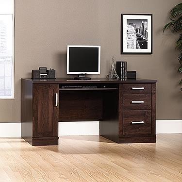 Sauder 408291 Office Port Credenza, L: 10.88'' x W: 21.88'' x H: 24.50'', Dark Alder finish by Sauder