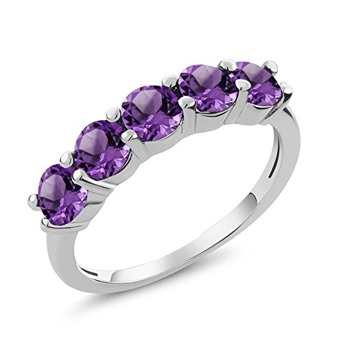 925 Sterling Silver Purple Amethyst 5-Stone Women's Band Ring (1.25 Cttw Round Available in size 5, 6, 7, 8, 9) ()