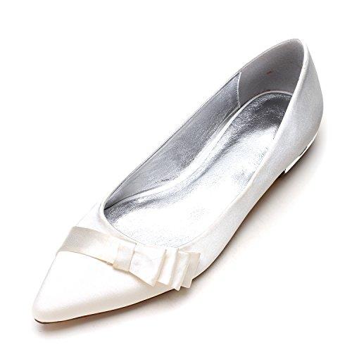 codice Donna Donna Qingchunhuangtang M Nuziale ugello da raso Nozze grande luce piatte Scarpe Scarpe di seta bianco scarpe Calzature punta 11TSw6pq