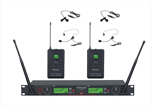 GTD Audio 2x800 Channel UHF Diversity Wireless Lapel/Lavalier/Headset Microphone Mic System (2 lapel Mics)