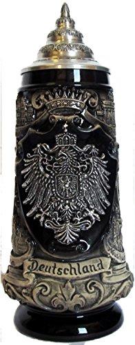 Beer Steins By King - Deutschland German Pewter Coat of Arms Beer Mug 0.3l ()