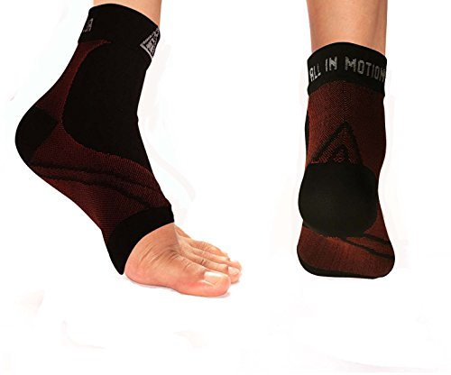 Plantar Fasciitis Compression Sleeve by ALL IN MOTION - Enhanced Anti-Fatigue Support Foot Care Compression Sock, Fast and Effective Long Lasting Pain Relief, Improves Circulation, Reduces Swelling, Heel Spurs, Arch Issues, Made with Ankle Brace Support, Use Day or Night - Helps Stop Foot Pain Fast. 2 x Sleeves included. (SMALL/MEDIUM)