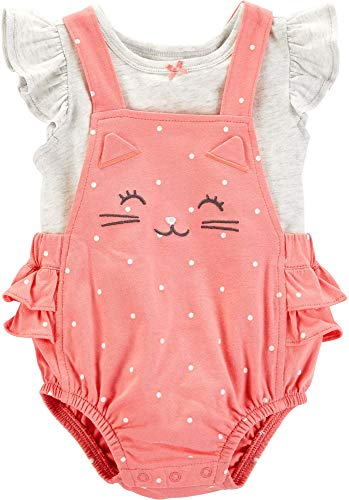 Carter's Baby Girls Polka Dot Cat Bubble Romper Set 12 Months Pink/White/Grey