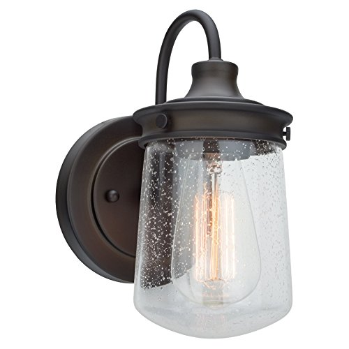 """Kira Home Mason 10"""" Industrial Wall Sconce, Seeded Glass Shade + Oil-Rubbed Bronze"""