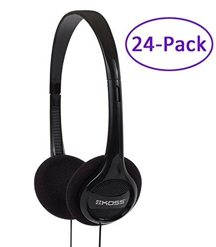 24-Pack Black Portable Stereo Headphones with 4Ft....