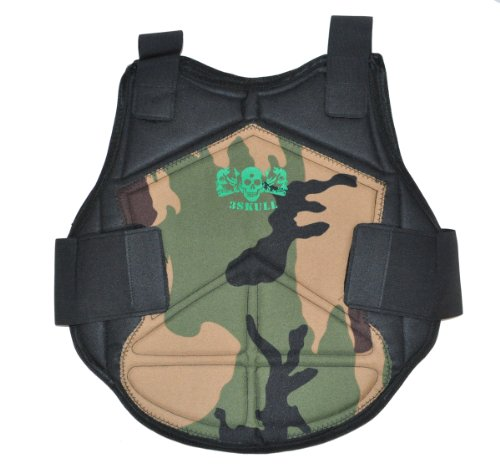 3Skull Paintball Flexible Armor Chest Protector - Woodland Camo - Small/Medium by 3Skull