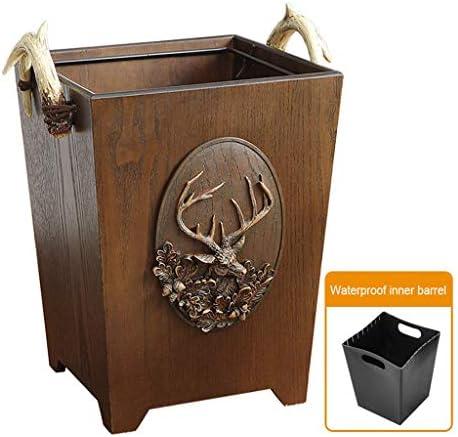 キッチンゴミ箱 任意のプラスチック袋を非表示にすることができます長方形の木製ゴミ箱、スイング蓋ごみビン6L ごみ収集 (サイズ : A)