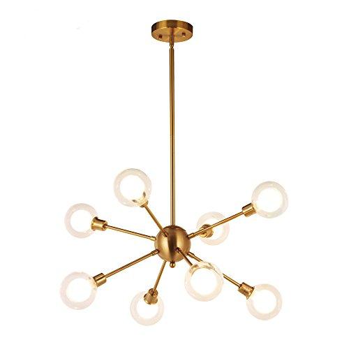 Chandelier Primo 8 Light - Modern Sputnik Chandelier Lighting Glass Sphere 8 Lights Mid Century G9 40W (Bulbs Included) Pendant Light Vintage Industrial Farmhouse Ceiling Light Fixture Brushed Brass by BAOLUCE