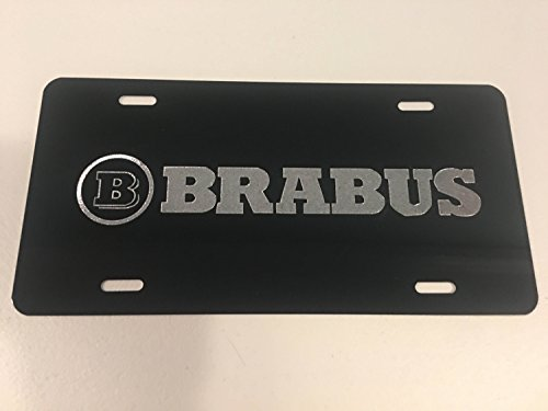 51bdedb725d BRABUS Logo Car Tag Diamond Etched on Black Aluminum License Plate
