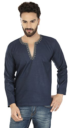 Maple Clothing Embroidered Cotton Mens Short Kurta Dress Shirt Indian Clothing (Blue, L)