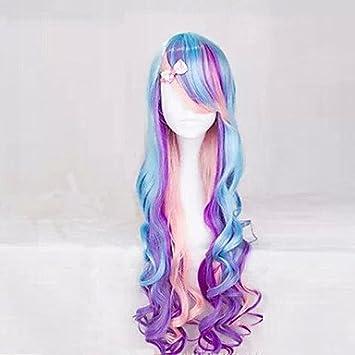 GSP-los nuevos anime de lechuga romana pelucas degradado de color púrpura mezcla peluca pelo