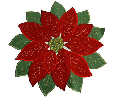 Set of 4,Applique Poinsettia Red with Green Embroidered Flower Placemats for Home Holiday Christmas Table Top Decoration,Round14inch(36cm)