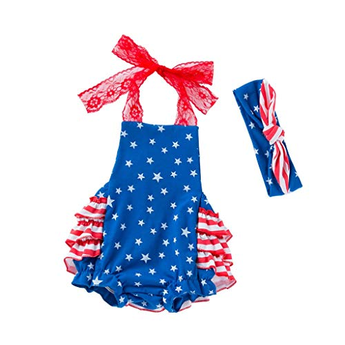Toddler Baby Girls 4th of July Stars Print Jumpsuit Romper+Headbands Set Outfit (Age:3-6 Months, Blue)